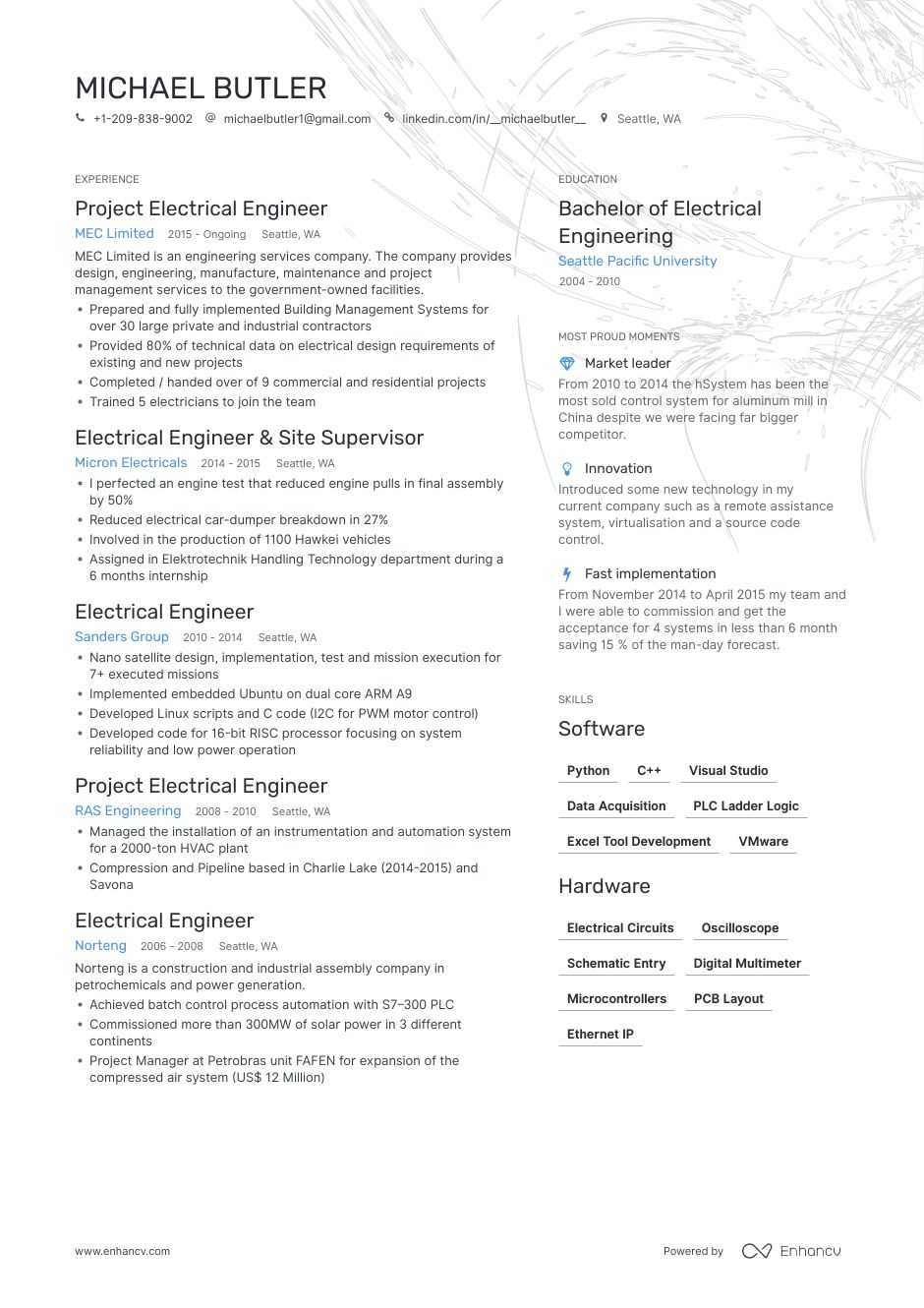 13 Electrical Engineering Resume Example & Guide for 2019