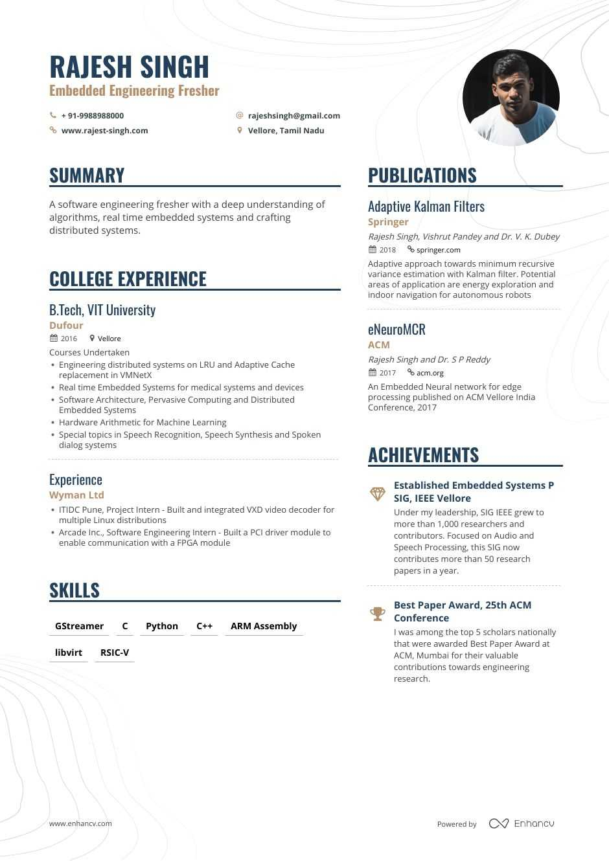 Fresher Intern Resume 8 Step Ultimate Guide For 2020 Enhancv