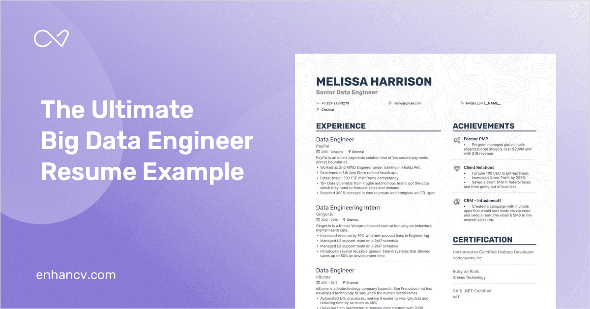 8  big data engineer resume examples and writing guide