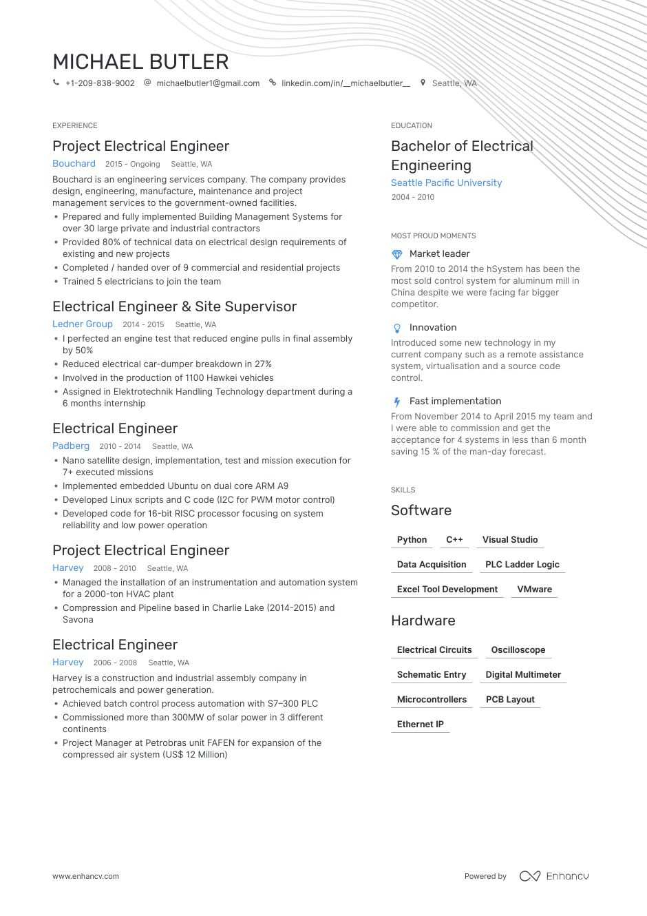 Electrical Engineer Resume Examples Pro Tips Featured Enhancv