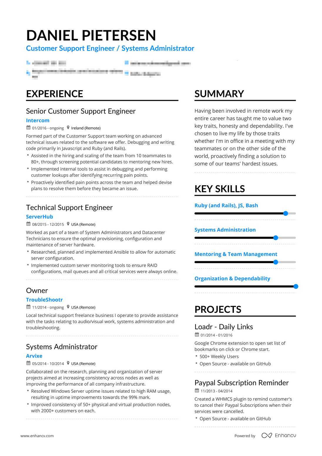 real customer support resume example enhancv