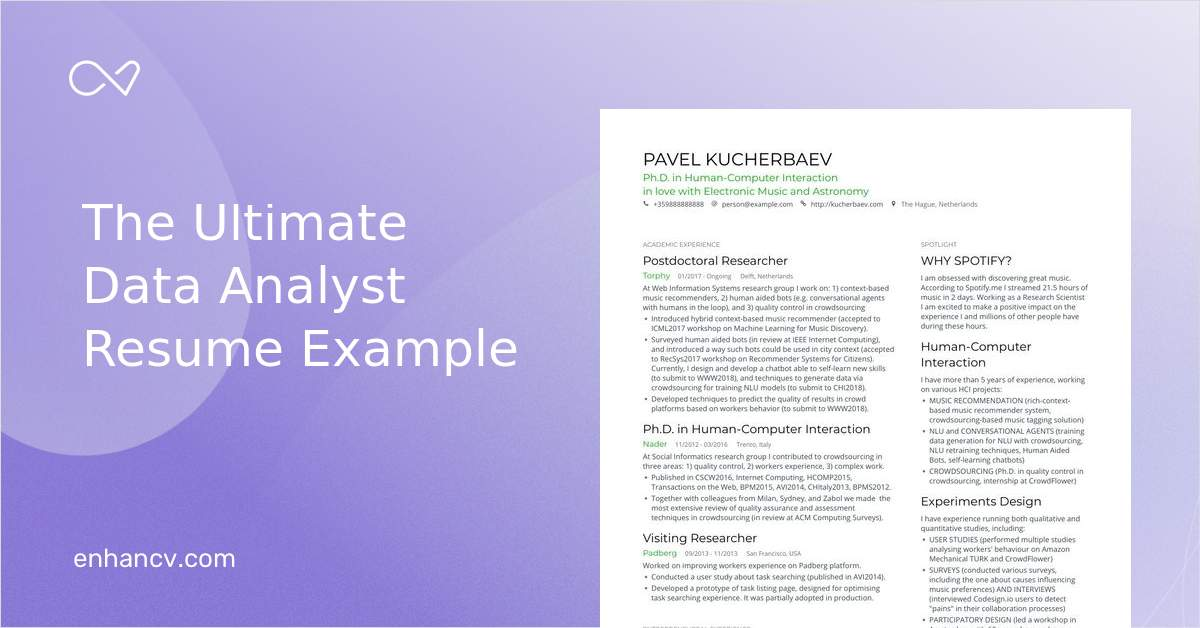 Data Analyst Resume Examples Pro Tips Featured Enhancv
