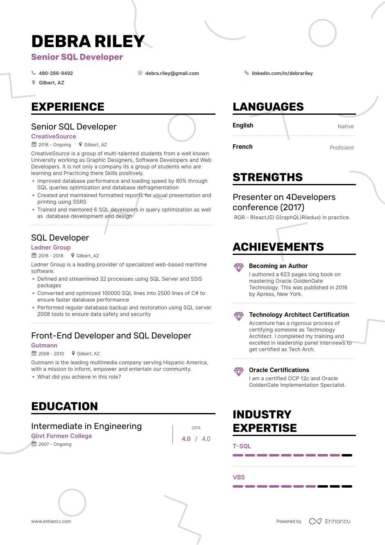 sql developer resume guide  examples