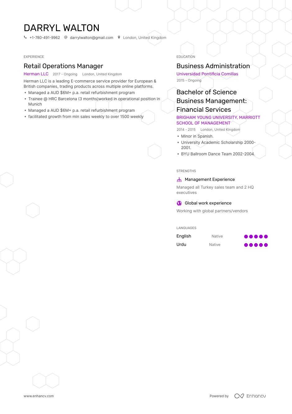 retail operations manager resume example