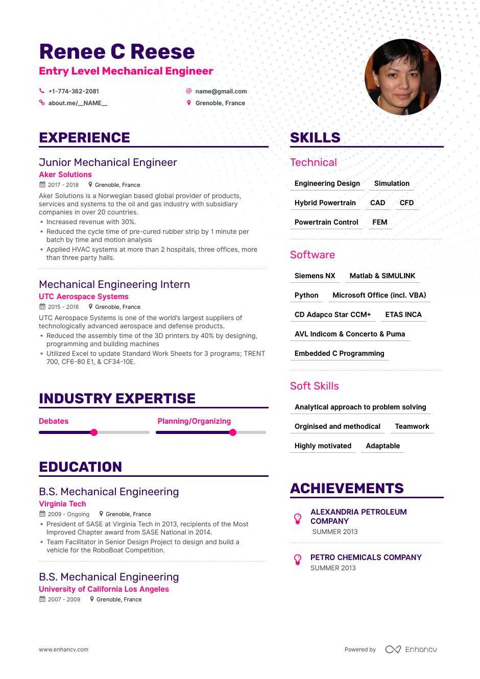 entry level mechanical engineer resume example