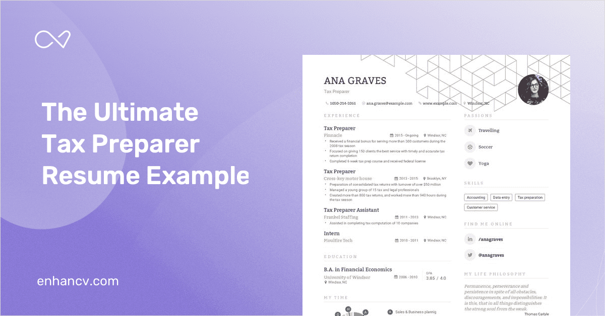 Tax Preparer Resume | Tax Preparer Resume Example And Guide For 2019