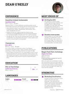 Dean O'Reilly's resume preview