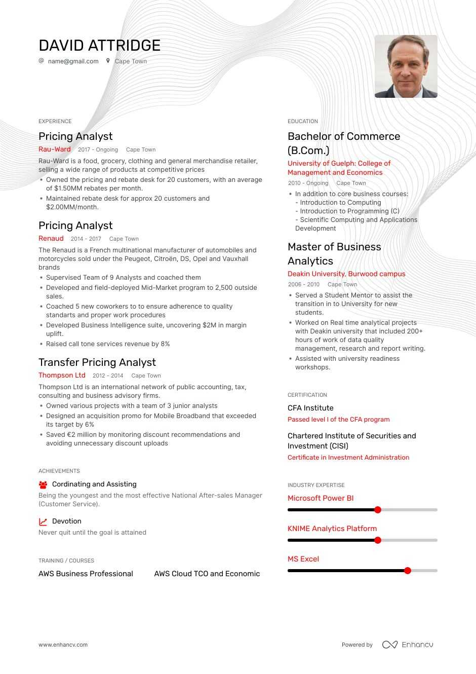 pricing analyst resume example