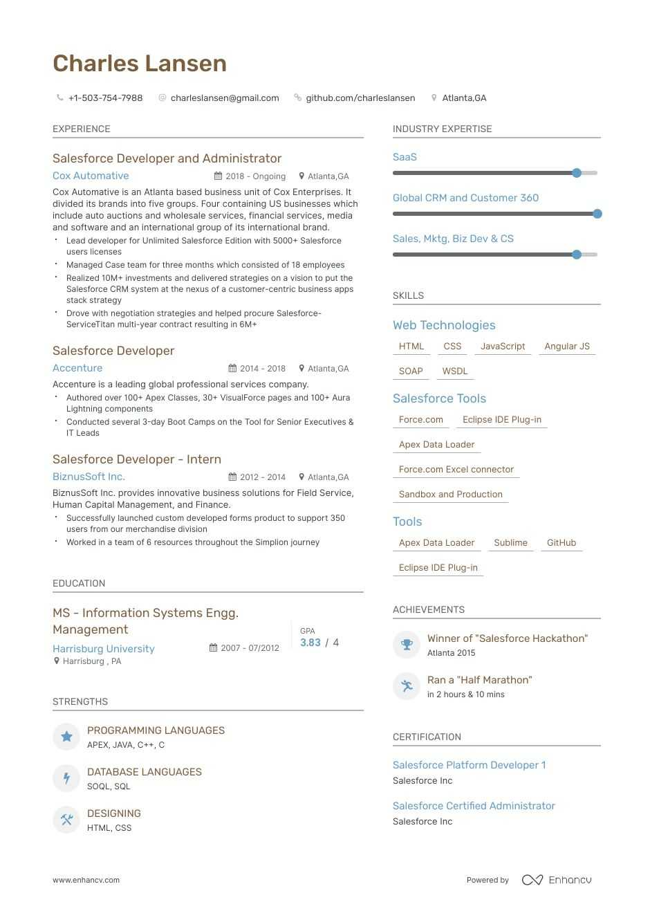 Top Salesforce Developer Resume Examples 9 Samples