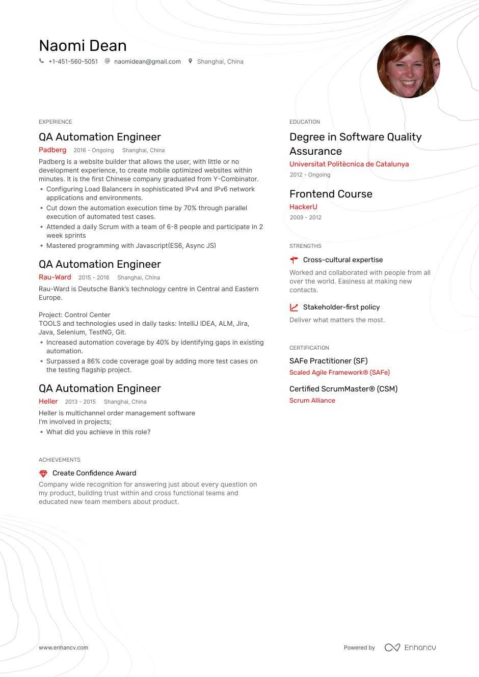 qa automation resume example