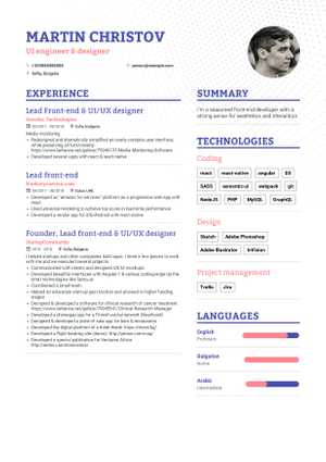 Front End Developer Resume 2019