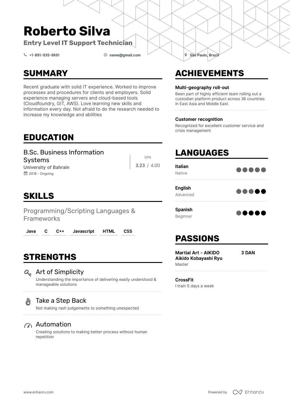 entry level it resume example