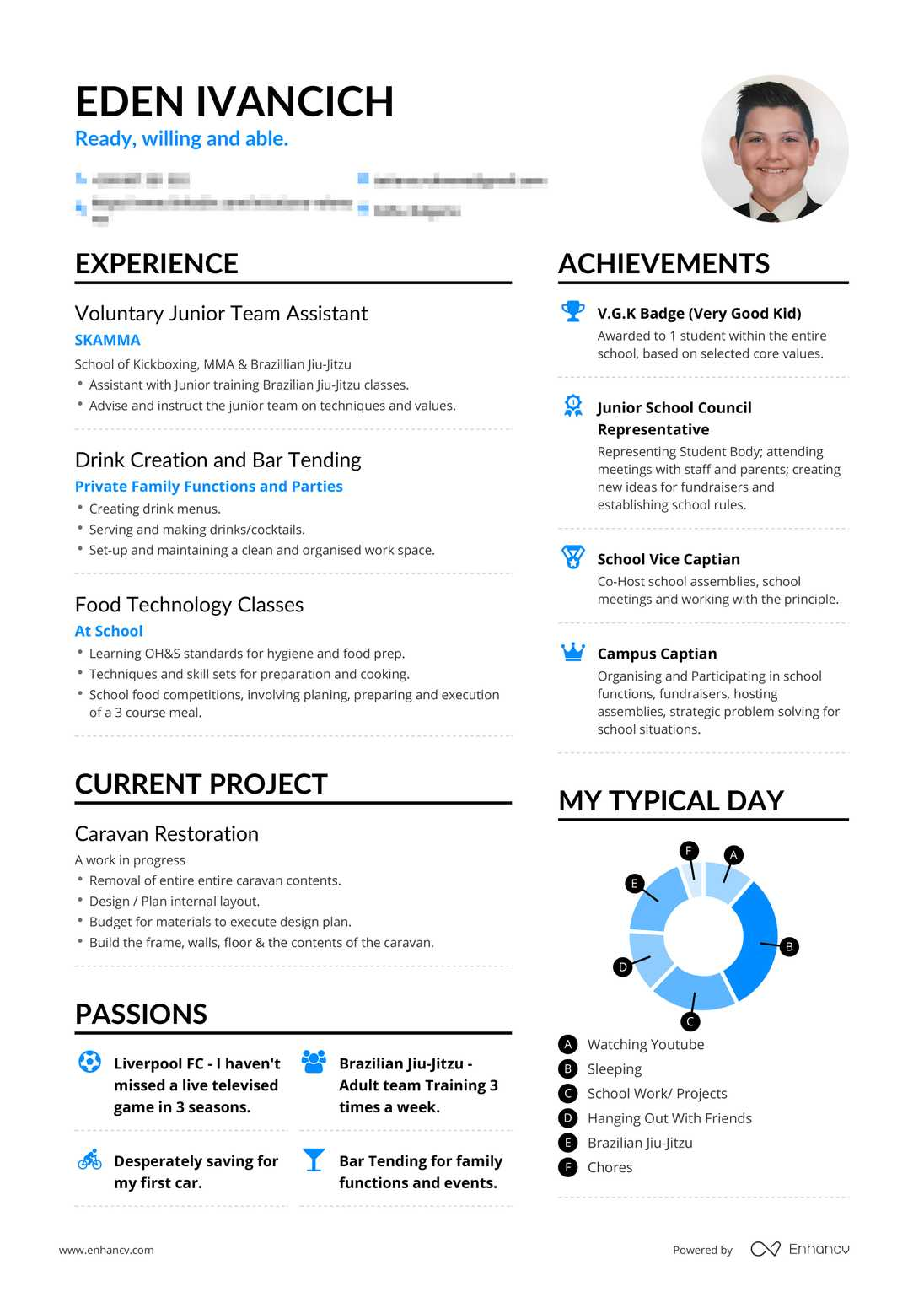 Real High School Teen Resume Example | Enhancv