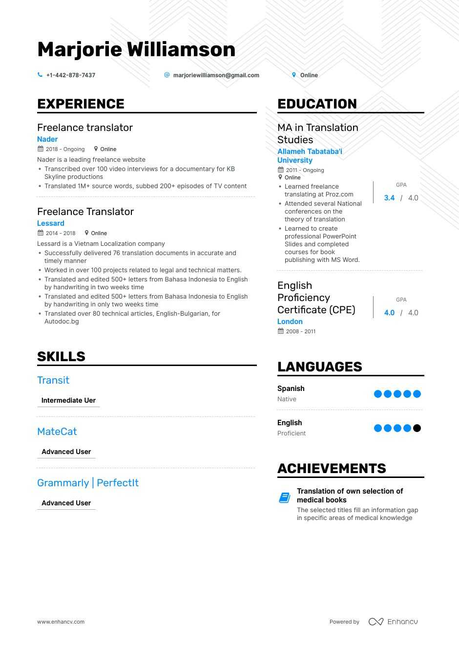 Download Freelance Translator Resume Example For 2020