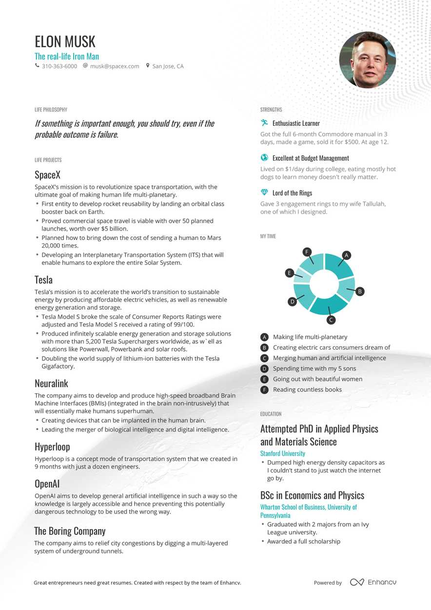 Elon Musk\'s CEO Resume Example in One Page | Enhancv