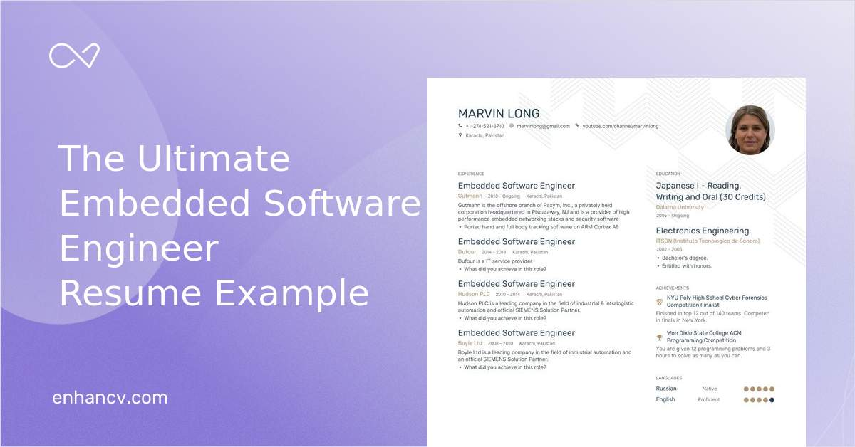 download  embedded software engineer resume example for 2020