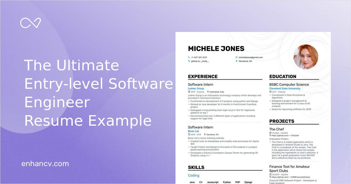 Top Entry Level Software Engineer Resume Examples Samples For 2020 Enhancv Com