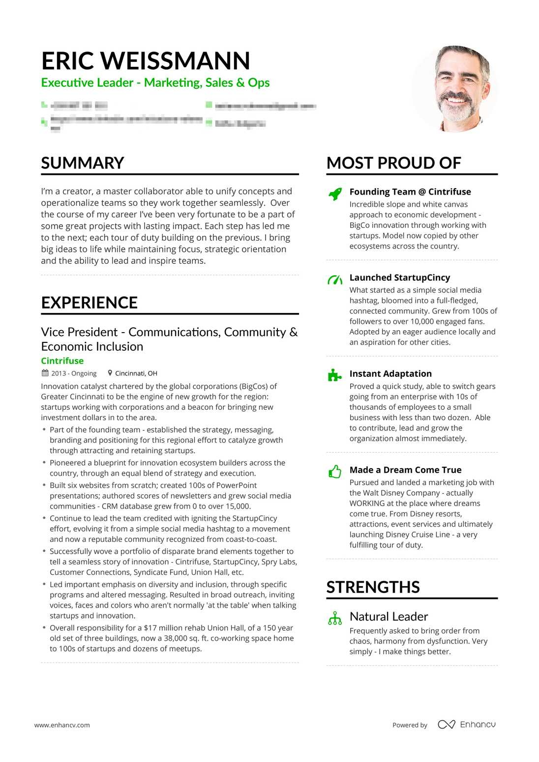 Real Marketing Executive Resume Example | Enhancv