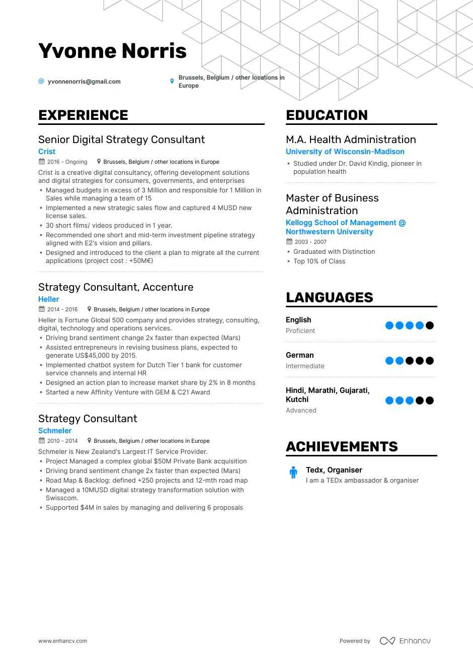 strategy consultant resume example