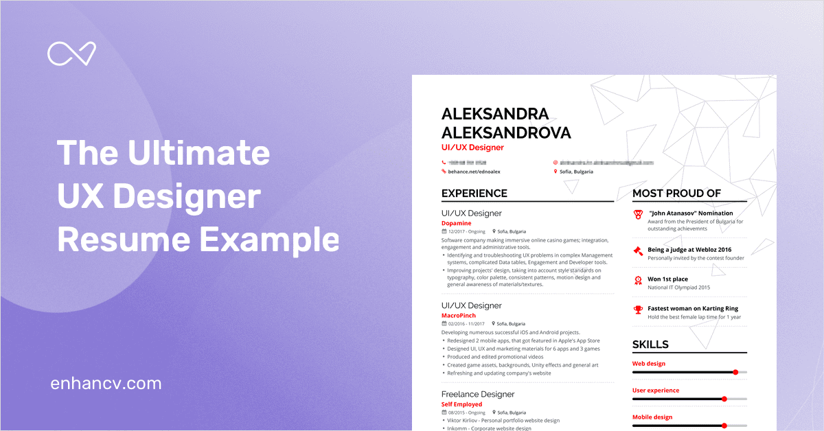 Ux Designer Resume Example And Guide For 2019