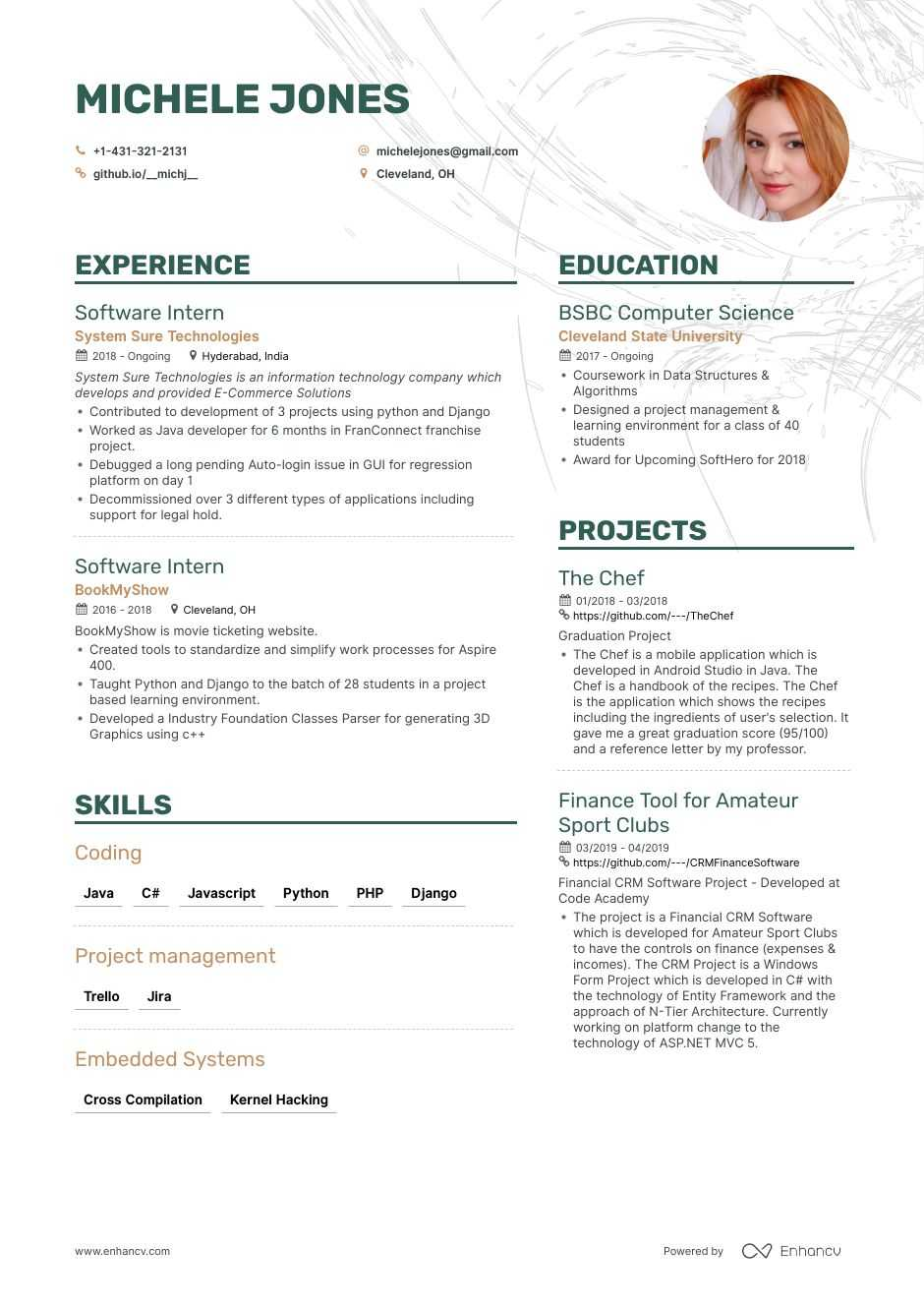 entry-level software engineer resume example