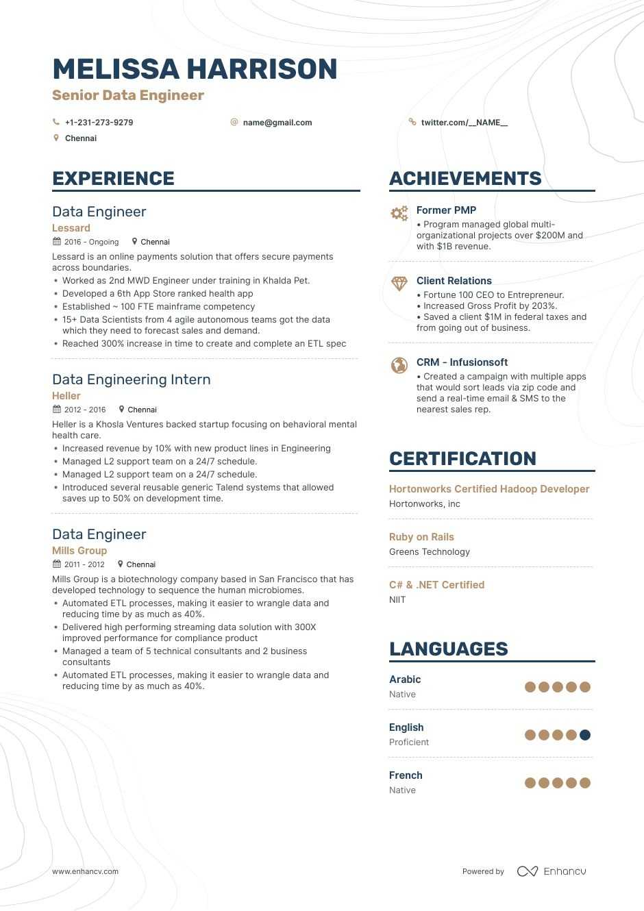 download  big data engineer resume example for 2020