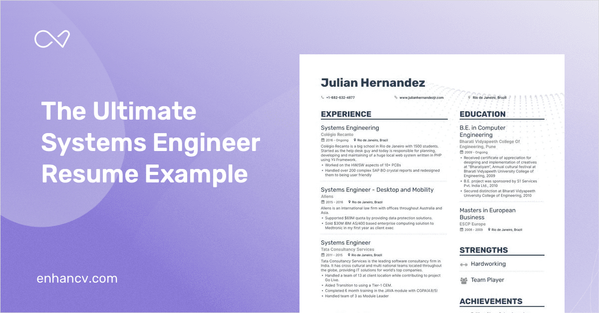 Systems Engineer Resume Samples [with 7+ Examples]