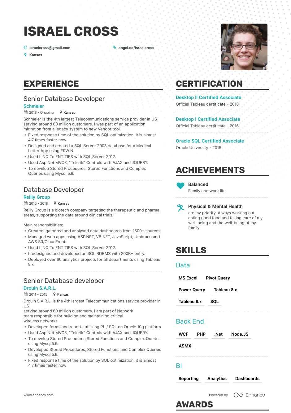 database developer resume example