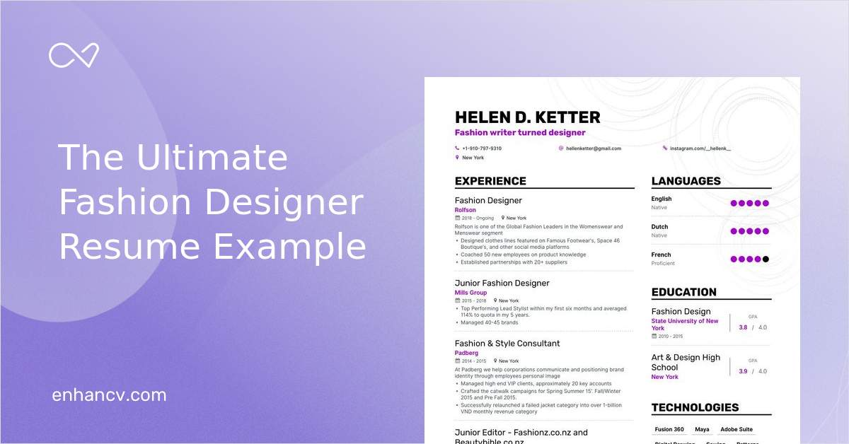 Top Fashion Designer Resume Examples Expert Tips Enhancv Com