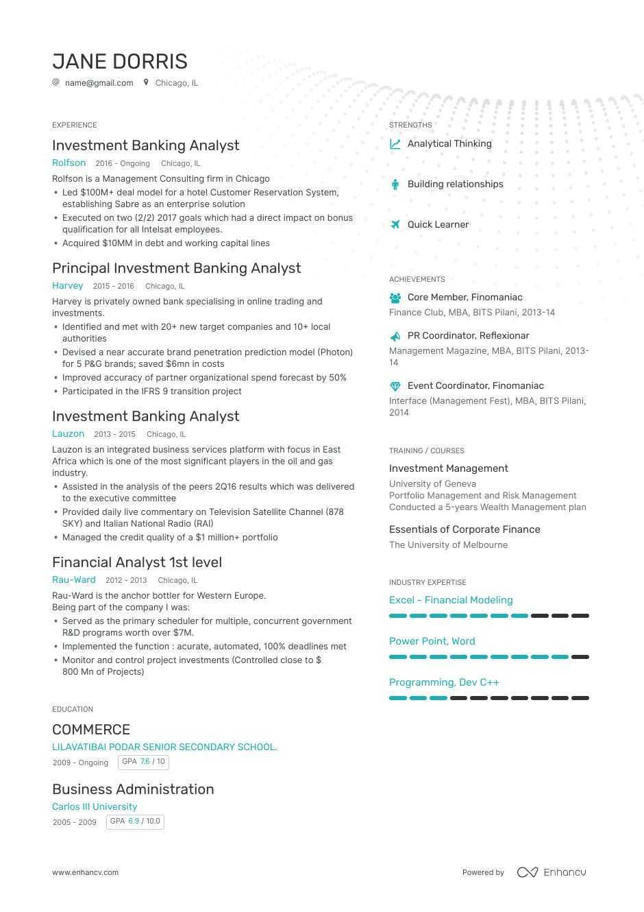 investment banking analyst resume  8