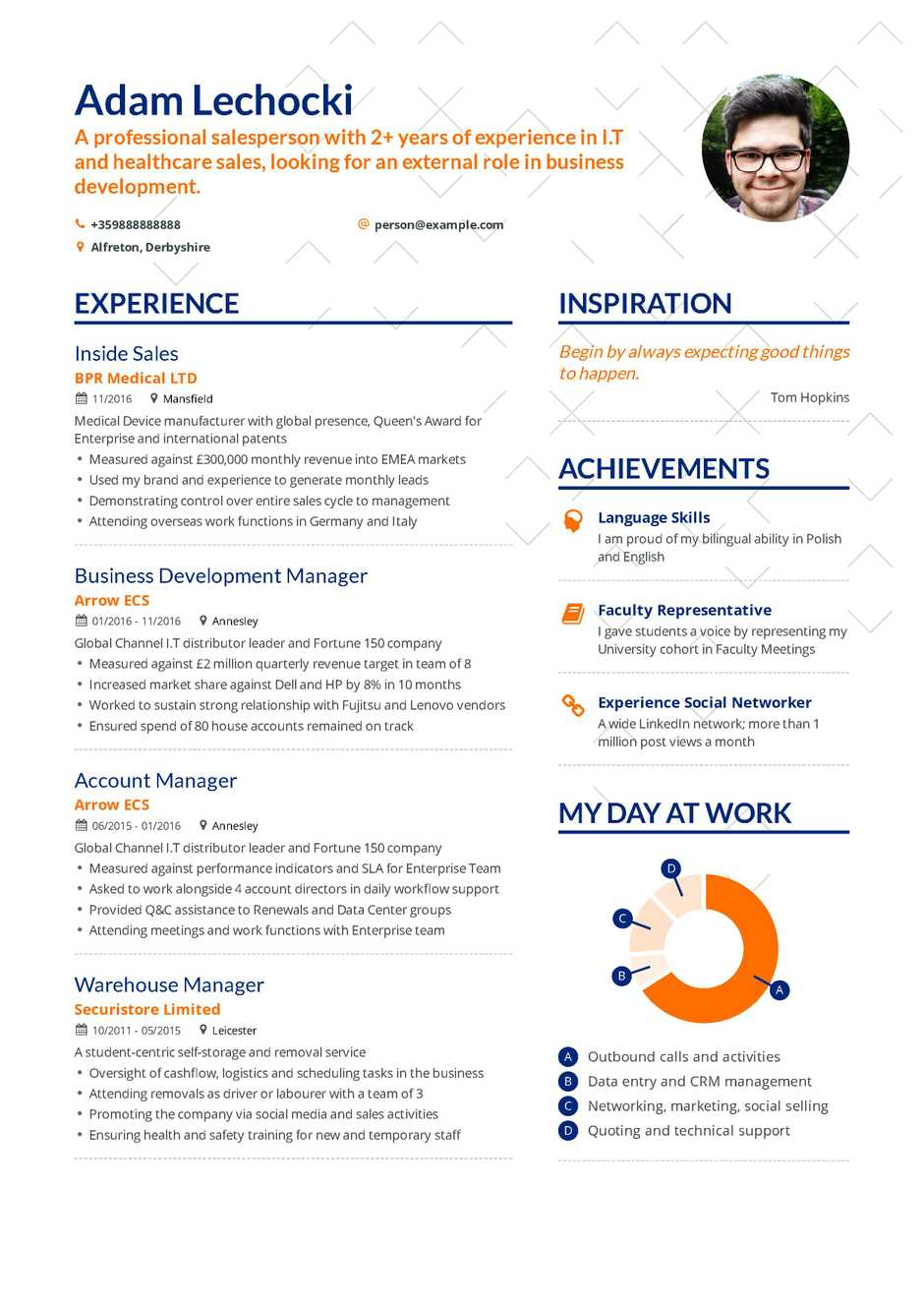 inside sales resume example