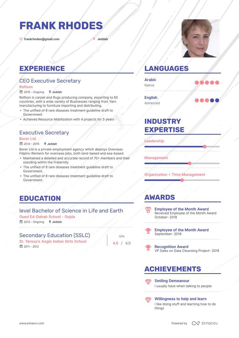 executive secretary resume example