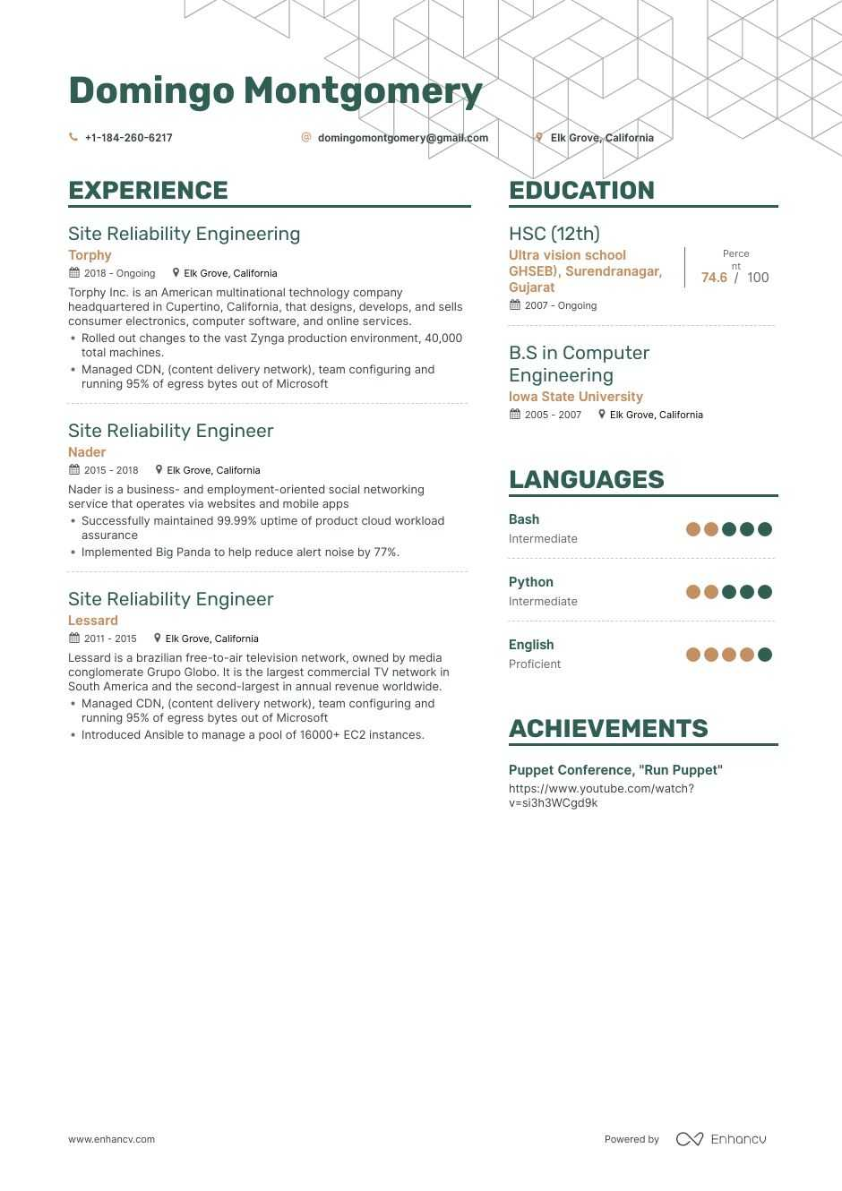 site reliability engineer resume example