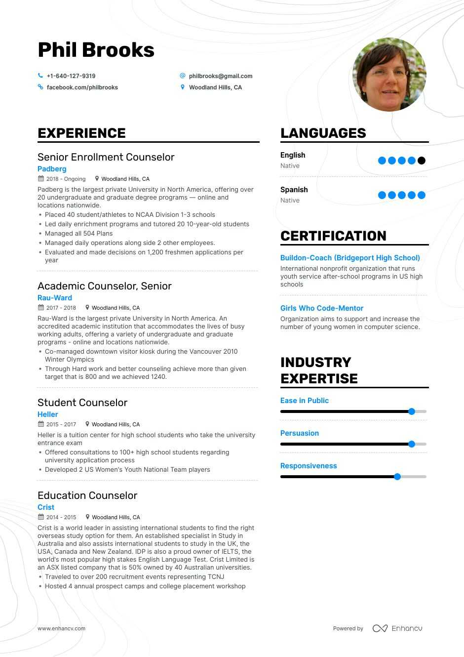 counselor resume example