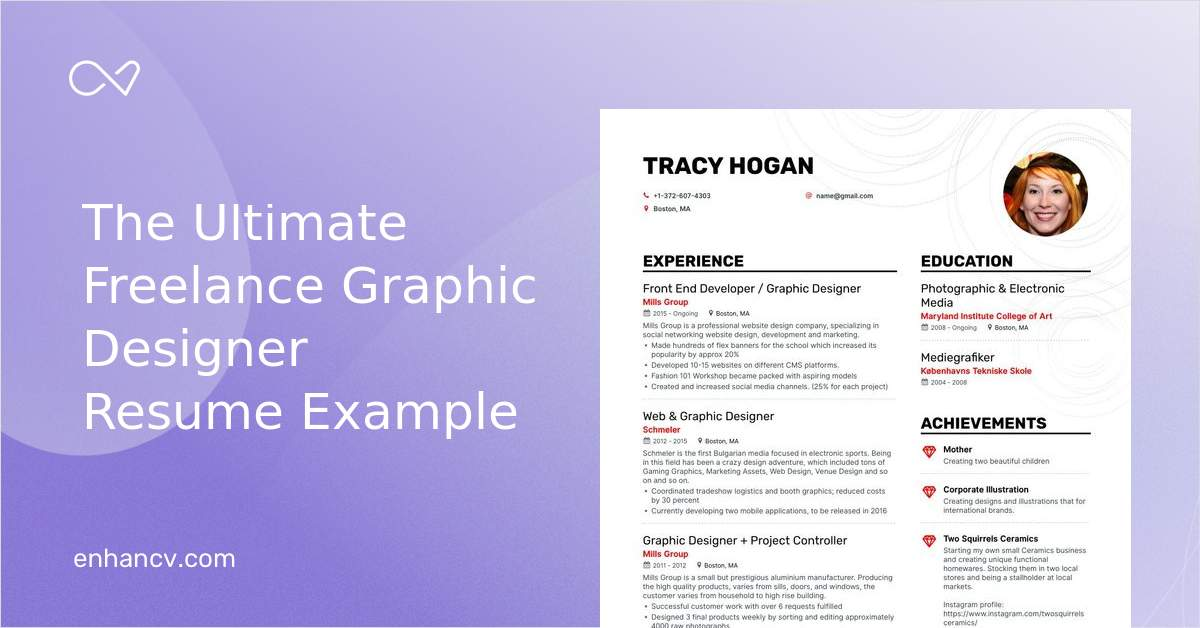 Freelance Graphic Designer Resume Examples Pro Tips Featured Enhancv