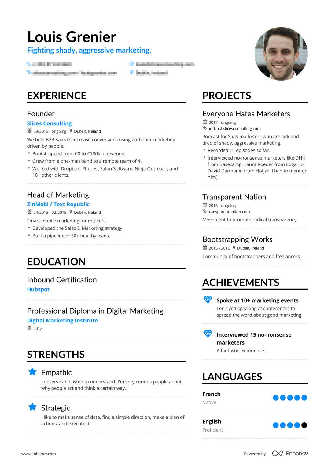 Louis Grenier's resume preview