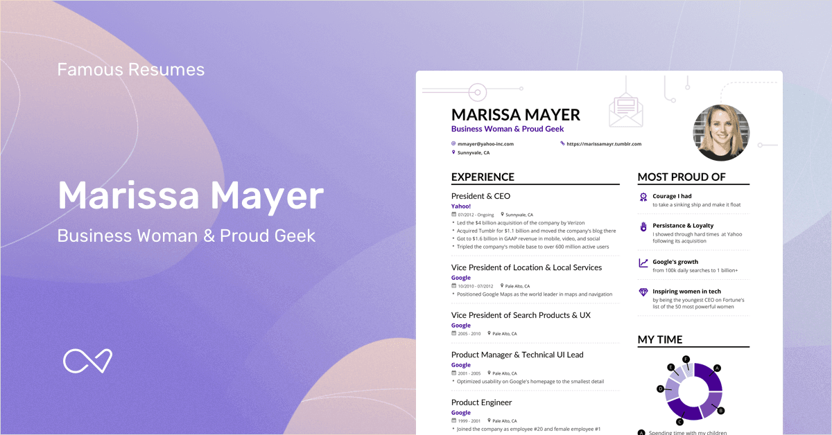 marissa mayers yahoo ceo resume example enhancv