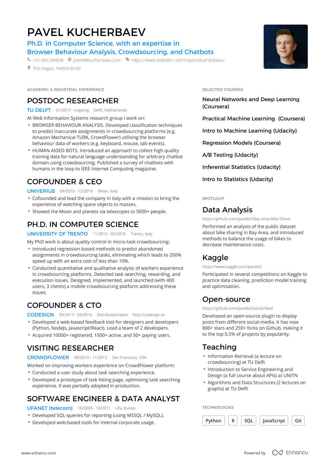 Real Data Scientist Resume Example Enhancv