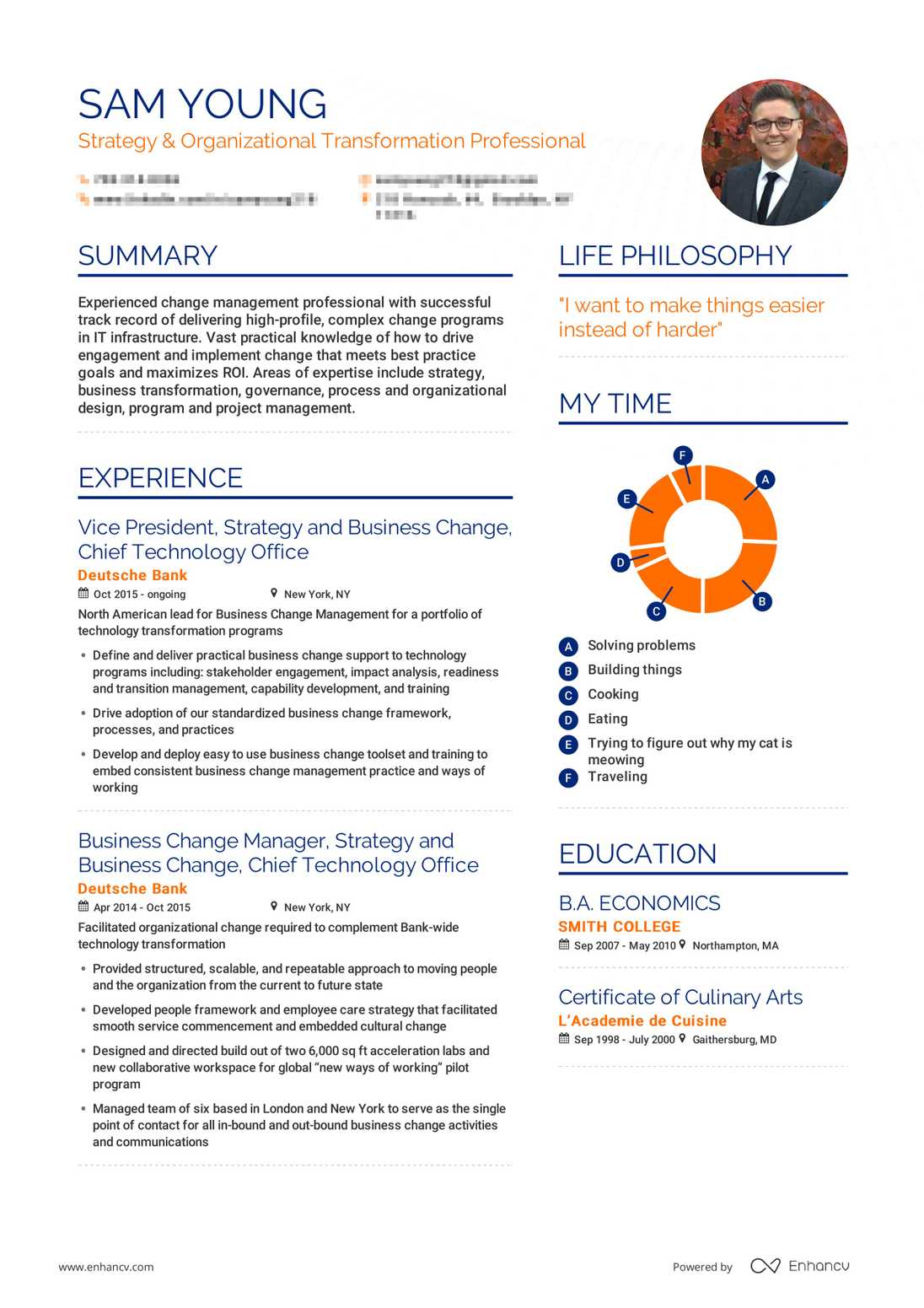 Real Career Change Resume Example | Enhancv