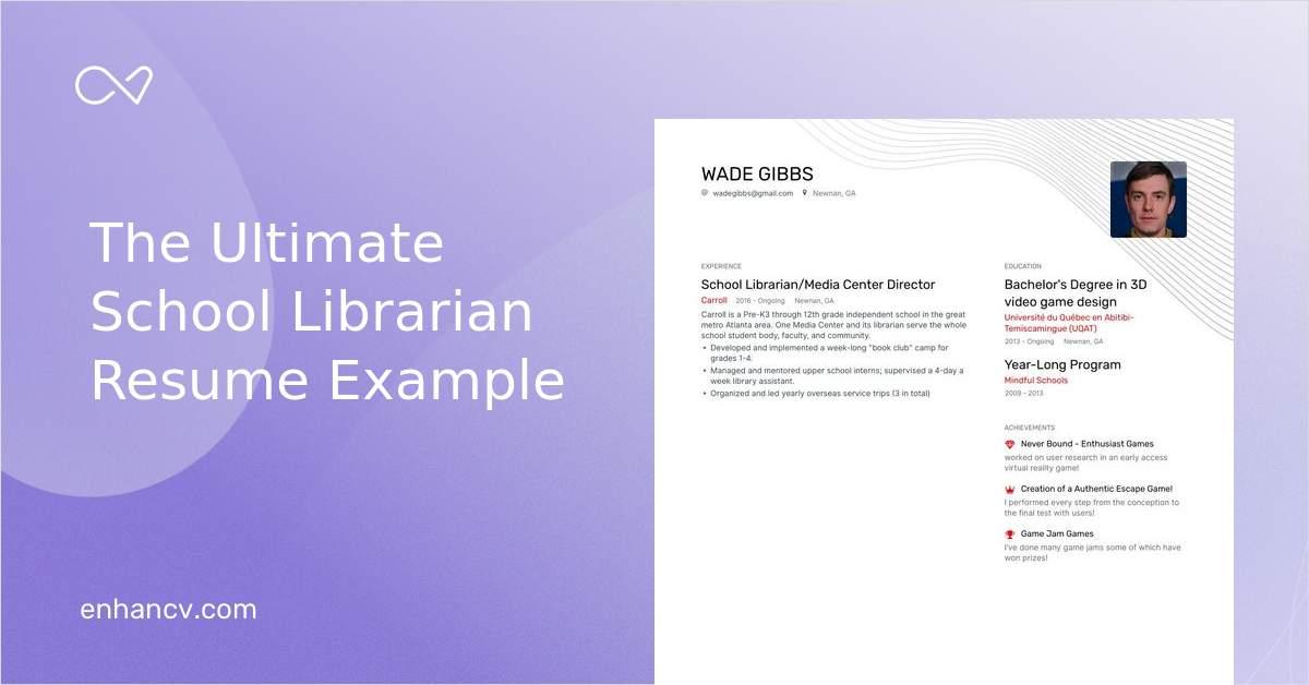 Top School Librarian Resume Examples Samples For 2020 Enhancv Com