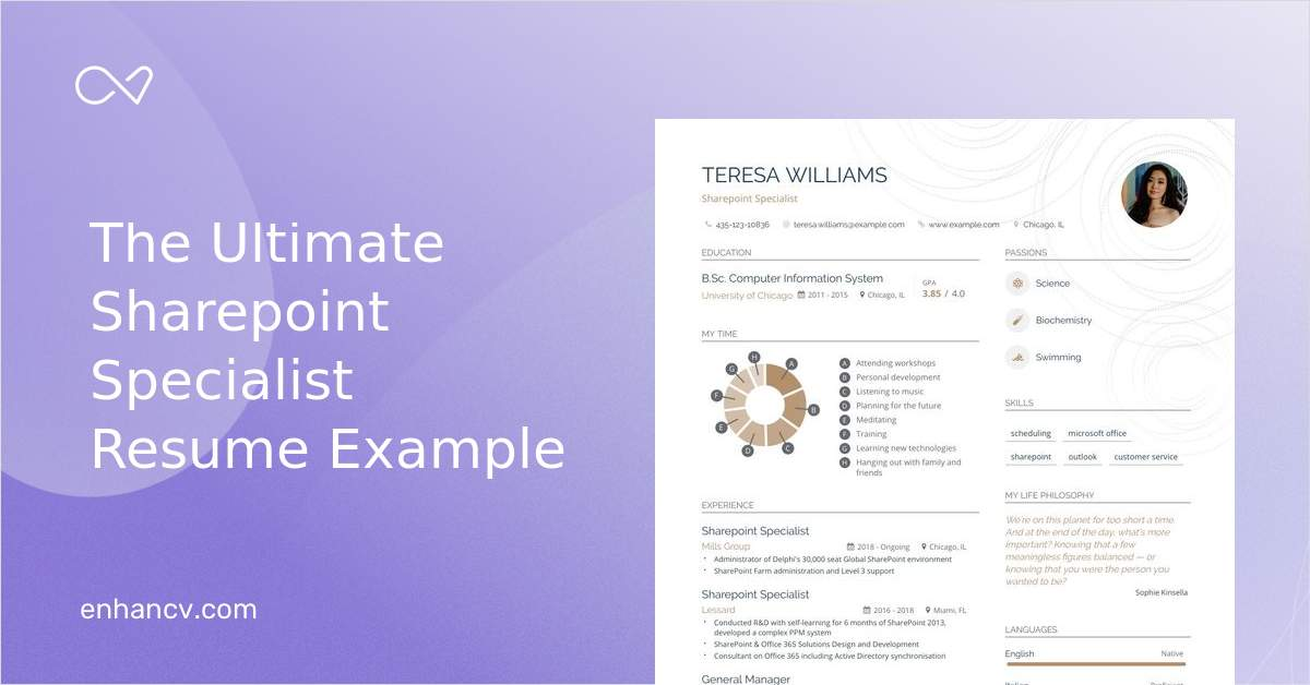 Sharepoint Specialist Resume Example and Guide for 2020
