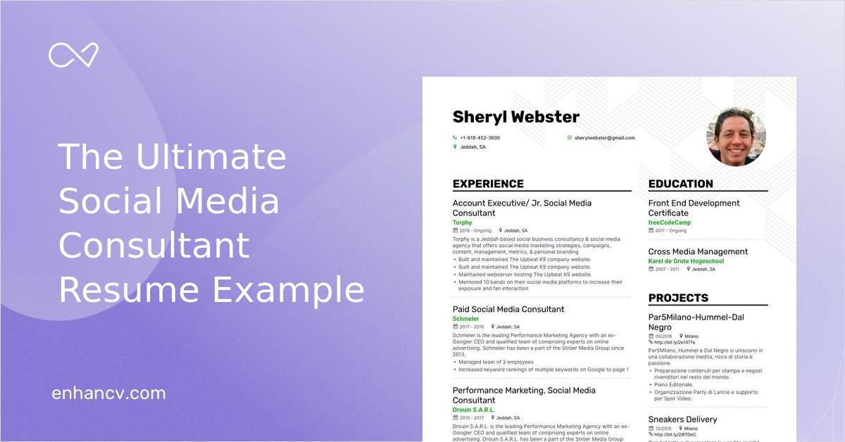 Download Social Media Consultant Resume Example For 2021 Enhancv Com
