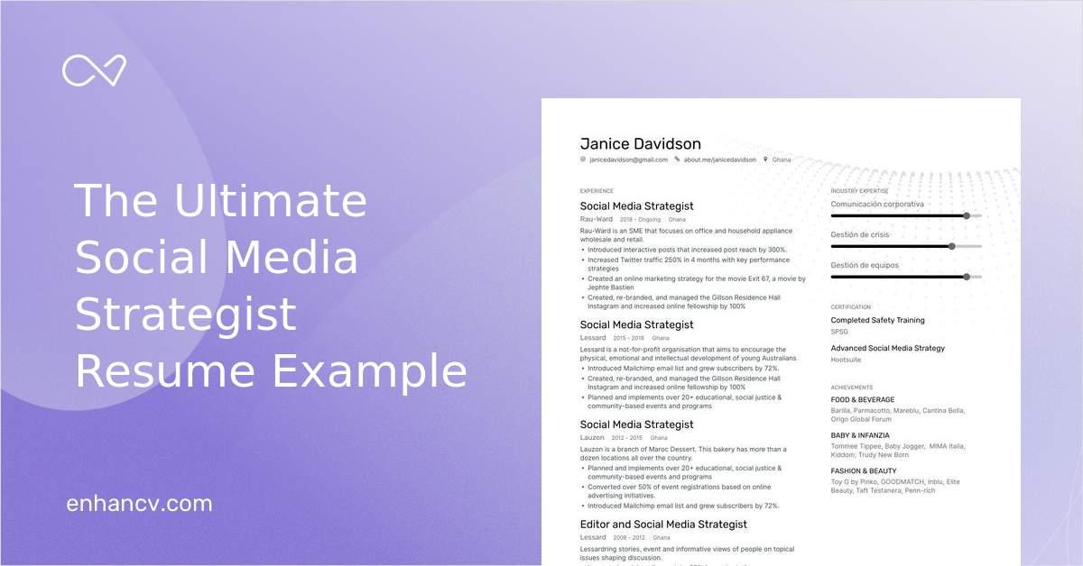 top social media strategist resume examples  u0026 samples for 2020