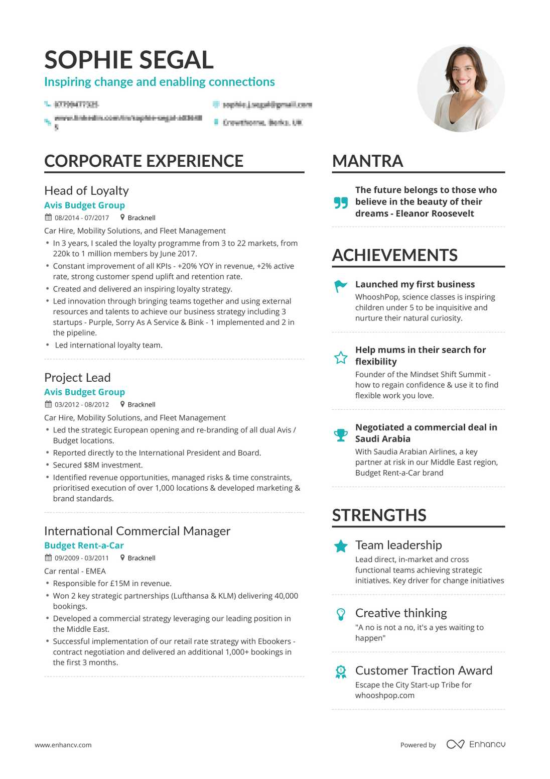 real department head resume example enhancv