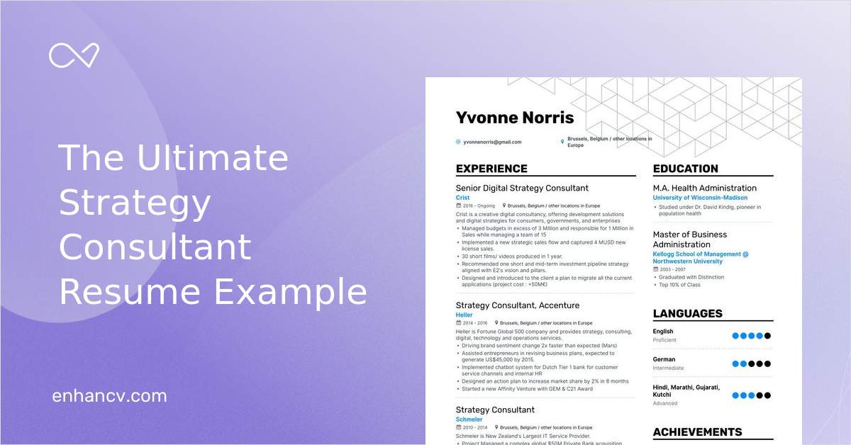 top strategy consultant resume examples  u0026 samples for 2020