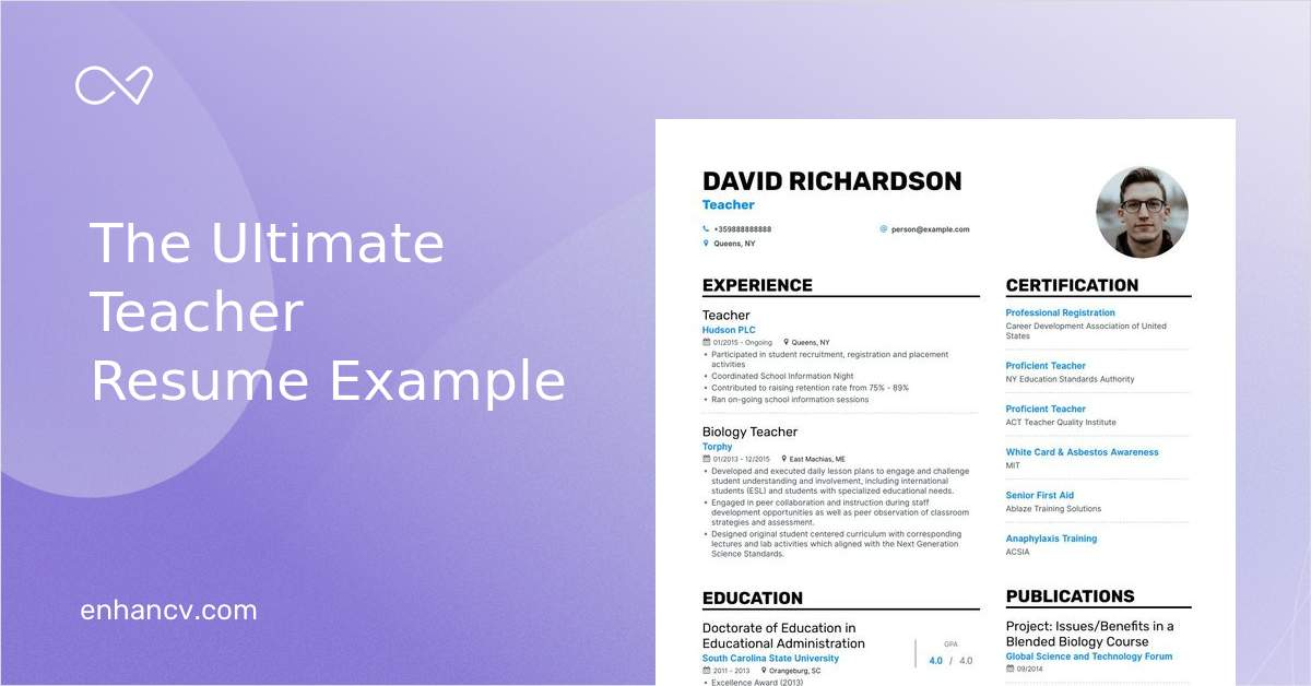 Job Winning Teacher Resume Examples Samples Tips Enhancv