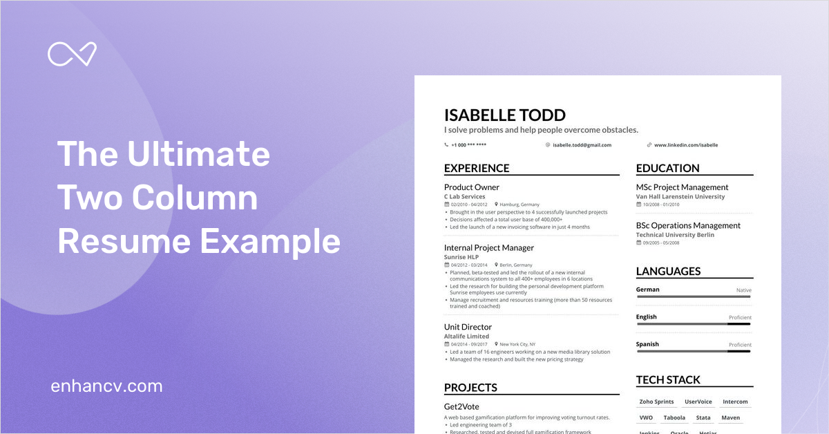 twocolumn resume templates for 2021  fit on one page
